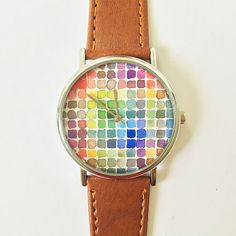 Watercolor Swatches Watch, Vintage Style Leather Watch, Women Watches, Boyfriend Watch, Painting, Men's Watch,  Silver, Gold and Rose Gold
