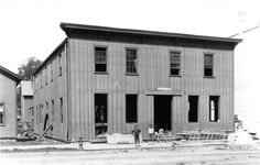 The original Fish Brothers Wagon Building on State Street, Racine, WI, 1860.
