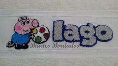 Toalha de Mão bordada em Ponto Russo - George Pig - Facebook: Biartes Bordados