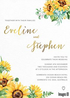 83 Sunflower Wedding Invitations and Ideas In Different Styles Western Wedding Invitations, Wedding Invitation Images, Sunflower Wedding Invitations, Rustic Invitations, Wedding Vows, Rustic Wedding, Wedding Day, Wedding Ring, Wedding Simple