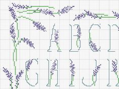 Alfabeto lavanda 1 - Cross stitch