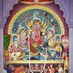 Durga Maa, Durga Goddess, Breakin Bad, Mother Kali, Durga Painting, Indian Folk Art, India Art, God Pictures, Indian Paintings