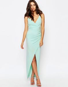 Image 4 of ASOS Wrap Ruched Skinny Strap Maxi Dress