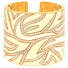Preowned Elegant White Enamel Diamond & Gold Cuff ($21,000) ❤ liked on Polyvore featuring jewelry, bracelets, white, 18k gold jewelry, diamond bangles, enamel jewelry, gold jewellery and white gold bangle