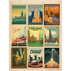 Chicago Illinois Travel Mosaic Wall Decal 48324 by RetroPlanetUSA