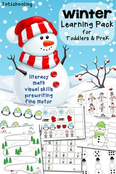 This FREE Winter Themed Preschool pack from Totschooling is designed for toddlers and preschoolers to develop early learning skills such as alphab