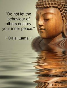 Do not let the behavior of others destroy your inner peace. Great idea if you can do it - too bad there are so many people behaving badly...... #dalailama quote