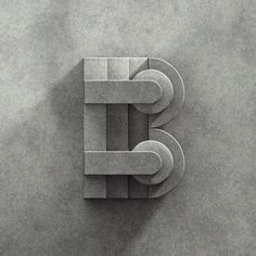 "B is for: ""Better start working soon on this #36daysoftype project so I don't have to spent the entire night working and wake up feeling like shit"" #36days_b #3d #geometry #concrete #type #typography by marchelord"