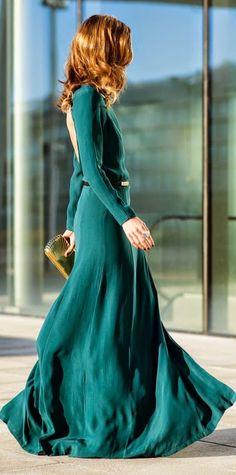 Street style fashion / karen cox. Winter Warm. Green Open Back Gown 2015 by Ms Treinta