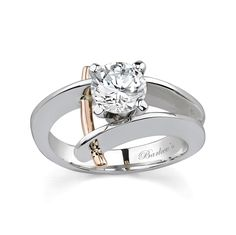 White & Rose Gold Solitaire Engagement Ring - - Unique with a twist of drama, this two tone diamond engagement ring sports a prong set round diamond center residing between the by pass shank. A single rose gold wire trim arch beside the center dia Two Tone Engagement Rings, Wedding Rings Solitaire, Solitaire Engagement, Unusual Engagement Rings, Bijoux Design, Schmuck Design, Bling, Ring Verlobung, Hand Ring
