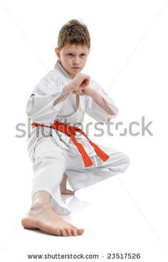 stock photo : a young boy doing martial arts moves.