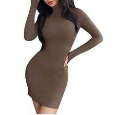 GateLie Women Solid Turtleneck Mini Dresses Sexy Night Club Tight Buttocks Bodycon Hip Dress Pullover Warm Dresses, Tight Dresses, Casual Dresses, Short Dresses, Party Dresses With Sleeves, Mini Dresses, Cardigan Fashion, Dress Fashion, Slim Fit Dresses
