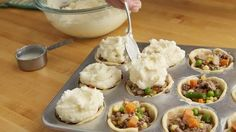 Mini Shepherd's Pot Pies recipe from Pillsbury.com - really could fill with anything...