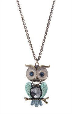 Deb Shops Long Statement #Necklace with #Owl $7.63