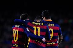 Lionel Messi Neymar Jr and Luis Suarez of FCBarcelona celebrating the Neymar goal during FCBarcelona vs Sporting Spanish League match April 23 Cr7 Vs Messi, Messi And Neymar, Messi 10, Neymar Goal, Fc Barcelona, Barcelona Futbol Club, Football Player Messi, Football Fans, Soccer Players