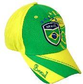 Brazil Soccer Baseball Cap in yellow and green.