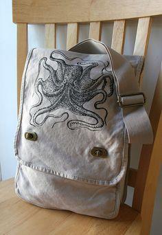 Black Octopus Field Bag Messenger Bag