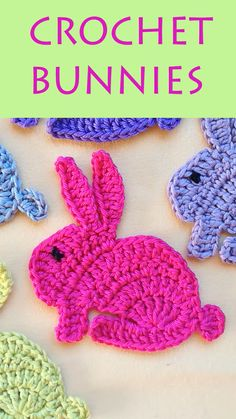 Crochet a cute bunny rabbit applique motif for children's or baby decoration or Easter. Step by step instructions on video, written pattern and crochet chart. You can also attach two rabbits together and stuff it for a toy o Easter Crochet, Crochet Bunny, Crochet Animals, Crochet Flowers, Crochet Leaves, Crochet Bags, Crochet Applique Patterns Free, Crochet Motifs, Crochet Chart