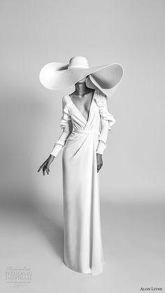 alon livne 2018 bridal long sleeves deep v neck wrap over bodice simple clean chic sophiscated column sheath wedding dress (3) mv fv -- Alon Livné White 2018 Wedding Dresses