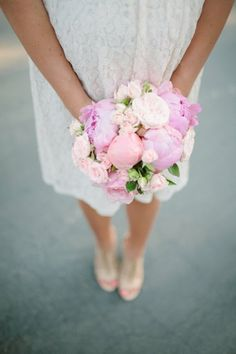 pink peony and rose bouquet    Photography by abiqphotography.com     Read more - http://www.stylemepretty.com/2013/08/05/oakland-wedding-from-abi-q-photography/