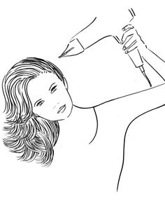 6. Push strands to one side of your head, blowing the roots again; switch sides and repeat. Now create your part, which will be full and fabulous.
