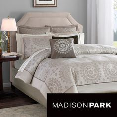 @Overstock - This tan duvet cover set with medallion print will update your bedroom d_cor while blending well with existing furniture. The set includes a 100 percent polyester duvet cover, two pillow shams, and three coordinating decorative pillows.http://www.overstock.com/Bedding-Bath/Madison-Park-Sausalito-6-piece-Duvet-Cover-Set/6151330/product.html?CID=214117 $86.99