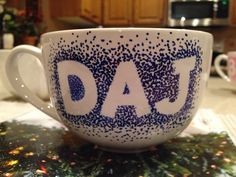 Homemade permanent marker coffee mug! Bake at 350 for 30 min