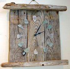 Sea glass and wooden clock.  Would like to expand on this idea.