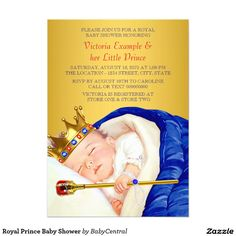 Royal Prince Baby Shower 5x7 Paper Invitation Card
