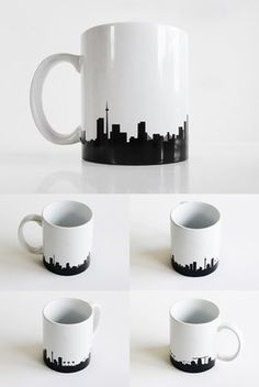 Johannesburg Skyline Mug - Ceramic coffee mug with an extended version of the skyline. South African Design, South African Art, Coffee Cups, Tea Cups, Ceramic Cafe, Diy Mugs, Painted Pots, Cute Mugs, Ceramic Design