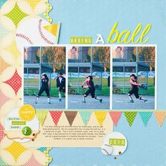 Softball Game Scrapbook Page-I only wish companies would realize a softball is yellow