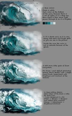 Wave Tutorial by Fievy on DeviantArtSupport me on patreon for mooooore www patreon com fievi aStormy water step by step painting tutorial.ART In G-Datenbots eingeschaltet ,How to Paint Waves with Acrylic Paint Digital Painting Tutorials, Digital Art Tutorial, Art Tutorials, Drawing Tutorials, Painting Lessons, Painting & Drawing, Water Drawing, Water Art, Painting Grass