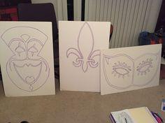 Hand drawn XL Mardi Gras Masks