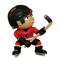 """Lil Teammates Series Calgary Flames Slapper Figurine (Edition 2) - Catch the fever of the hot new toy collectible craze with these poseable 3"""" vinyl team figures, available in various positions, series and uniform combinations. These little guys, dressed in the uniforms of your favorite teams, are tall and feature very animated faces and rotating heads. Collect all the positions and teams. 3 inches tall Rotating heads Officially licensed Series Collectible NHL License: Calgary FlamesItem…"""