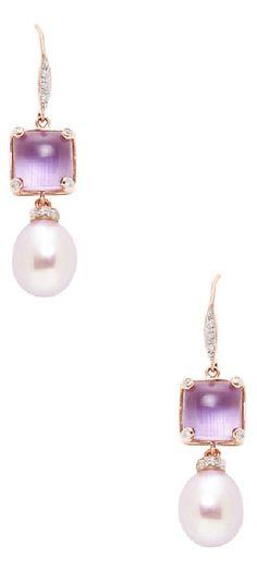 Baggins Pearls Pink Freshwater Pearls & Amethyst Drop Earrings