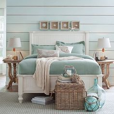 Get inspired by Coastal Bedroom Design photo by Wayfair. Wayfair lets you find the designer products in the photo and get ideas from thousands of other Coastal Bedroom Design photos. Coastal Bedrooms, Coastal Living Rooms, Beach Cottage Bedrooms, Country Bedrooms, Coastal Master Bedroom, Modern Bedroom, Stylish Bedroom, Bathroom Modern, Design Bathroom