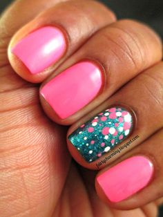 I am LOVING this hot pink mani with the teal glitter accent background, topped with ombre dots. It really pops!