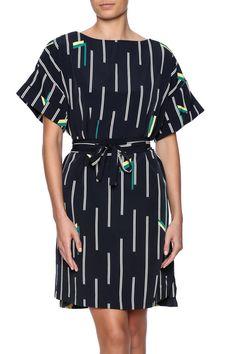 Short sleeve printed dress with belt. Pullover style.  Modern Deco Dress by Pinkyotto. Clothing - Dresses - Casual Clothing - Dresses - Short Sleeve Clothing - Dresses - Printed Boston Massachusetts Nolita Manhattan New York City