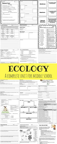 A complete ecology unit for middle school including presentations, student notes, activities, projects, and assessments! Science Worksheets, Science Resources, Teaching Science, Life Science, Science Ideas, Activities, School Images, Middle School Science, Earth Science