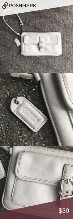 Coach Leather Wristlet Wallet Gently used white Coach leather wristlet wallet. No major stains or tears. Measures approximately 7 3/4 inches wide and 4.5 inches tall. Perfect for taking on the go. Zipper and button pocket all work like new. Bags Clutches & Wristlets