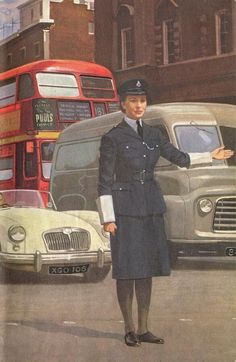 Ladybird, The Policeman (1962). The only female officer in the whole book. + MGA, Commer van