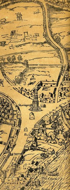 Elements of History are key - e. this Tudor style map I like London History, British History, Vintage Maps, Antique Maps, London Map, Old London, Medieval Life, Fantasy Map, Historical Maps