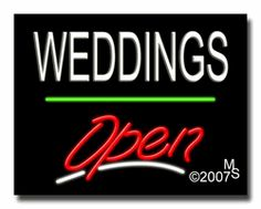 "Weddings Open Neon Sign - Script Text - 24""x31""-ANS1500-6498-3g  31"" Wide x 24"" Tall x 3"" Deep  Sign is mounted on an unbreakable black or clear Lexan backing  Top and bottom protective sides  110 volt U.L. listed transformer fits into a standard outlet  Hanging hardware & chain included  6' Power cord with standard transformer  Includes 2nd transformer for independent OPEN section control  For indoor use only  1 Year Warranty on electrical components."