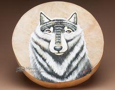 """Hand Painted Tarahumara Drum 16"""" -Wolf (60)"""
