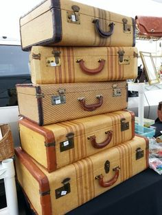 Old suitcases double as an end table.