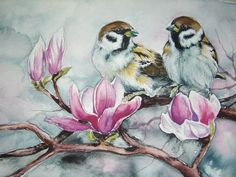 SPARROWS Watercolor Original Painting Aquarelle Art Birds Pink Magnolia Flowers BIG Format  ~ 12 inch Artist Europe couple Floral Bird Art