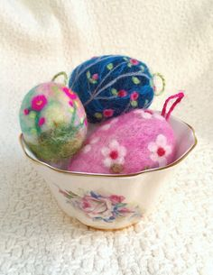 Needle Felted Easter Egg Ornaments by SA Barr