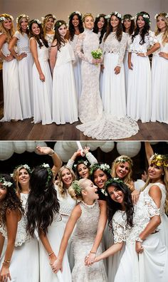 The bride stunned in a mesmerizing lace gown that she designed herself from imported French lace, and her maids looked effortlessly chic in custom all white lace tops, maxi skirts, and floral crowns.