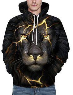 aaa3fa26116b0 Men s Plus Size Active Long Sleeve Loose Hoodie   Sweatshirt - 3D   Animal  Lion