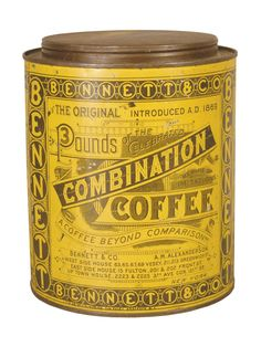 Fabulous early tin litho ~ Combination Coffee tin ~ late 1800's                   ****